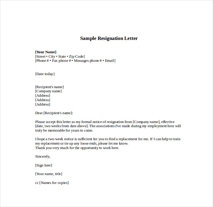 Notice of Resign Letter