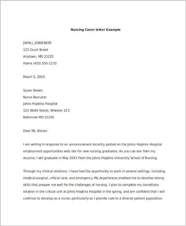 Nice Nursing Promotion Cover Letter Example