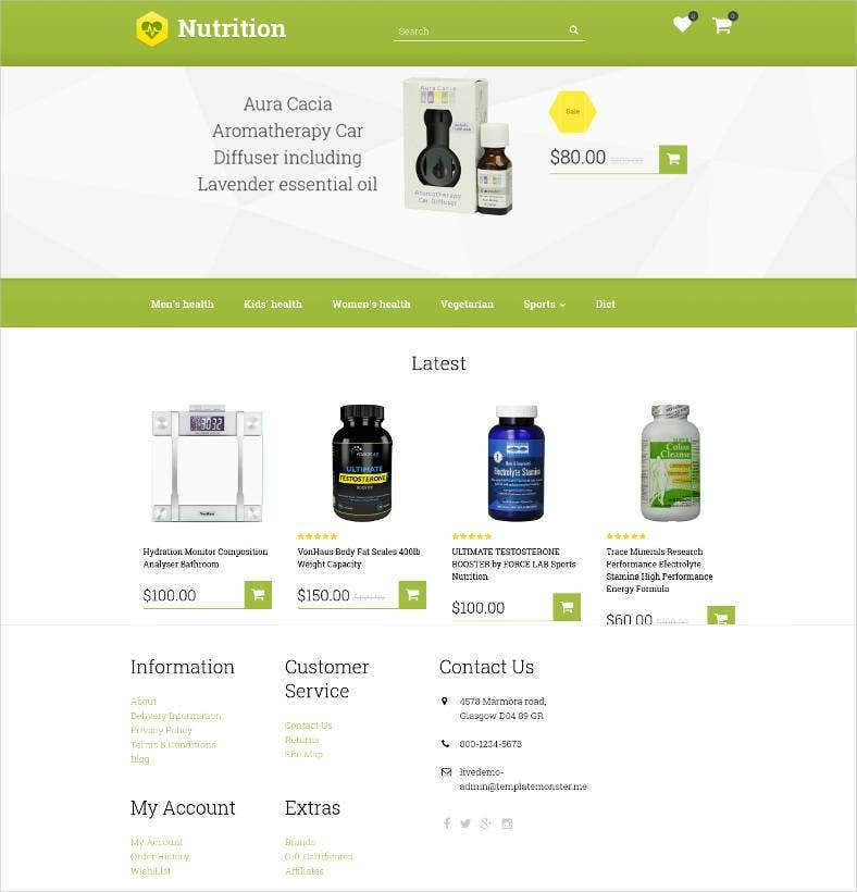 Nutrition supplements prestashop theme #48090.