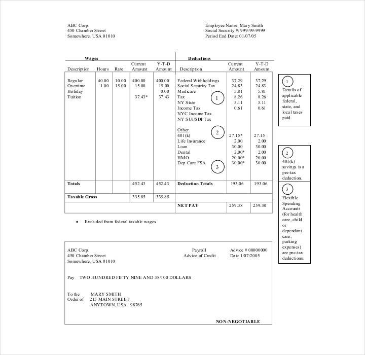 Pay Stub Example Template