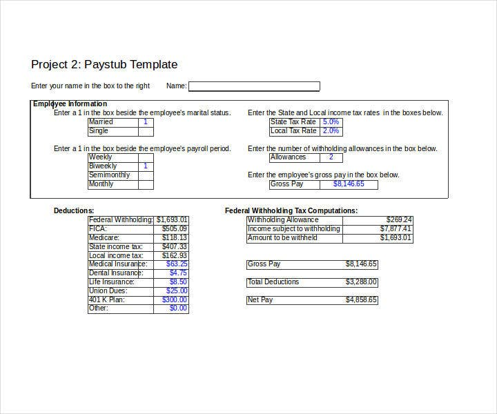 9 Paycheck Stub Templates In Excel Free Premium Templates