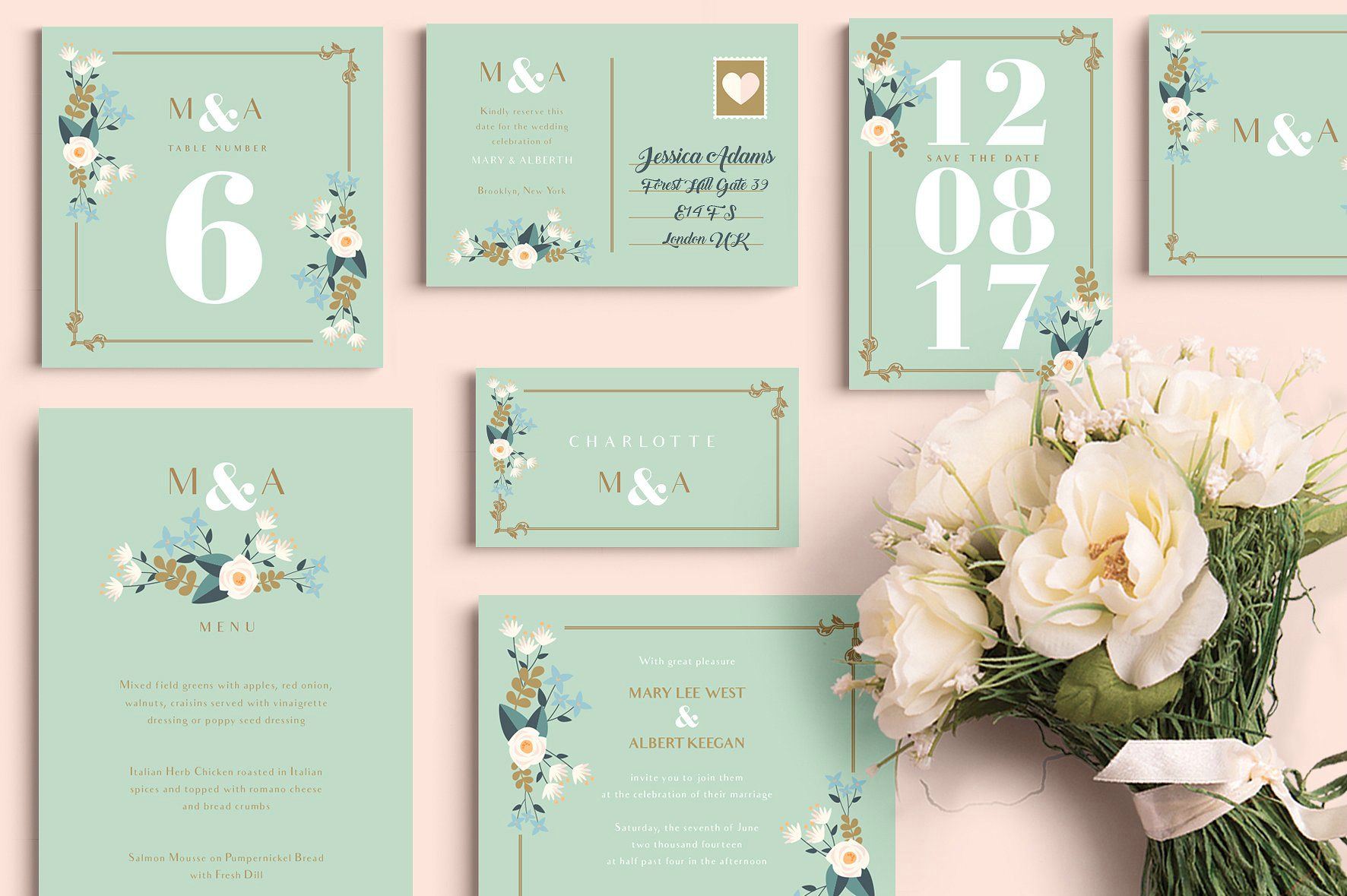pear wedding printable card set