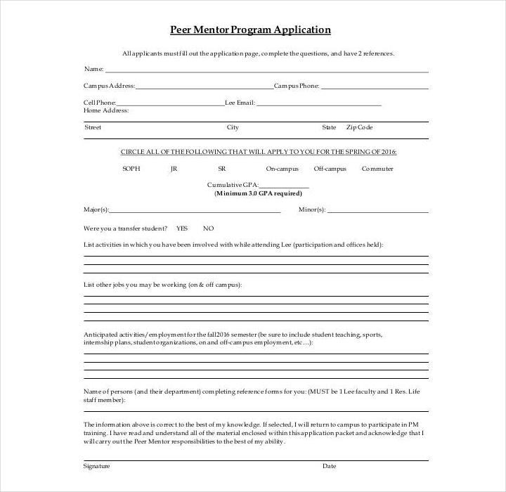 peer mentor program application form