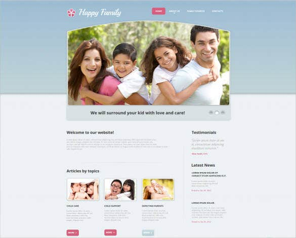 perfect family center website theme