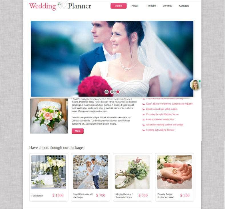 photo gallery wedding planner website theme 788x735