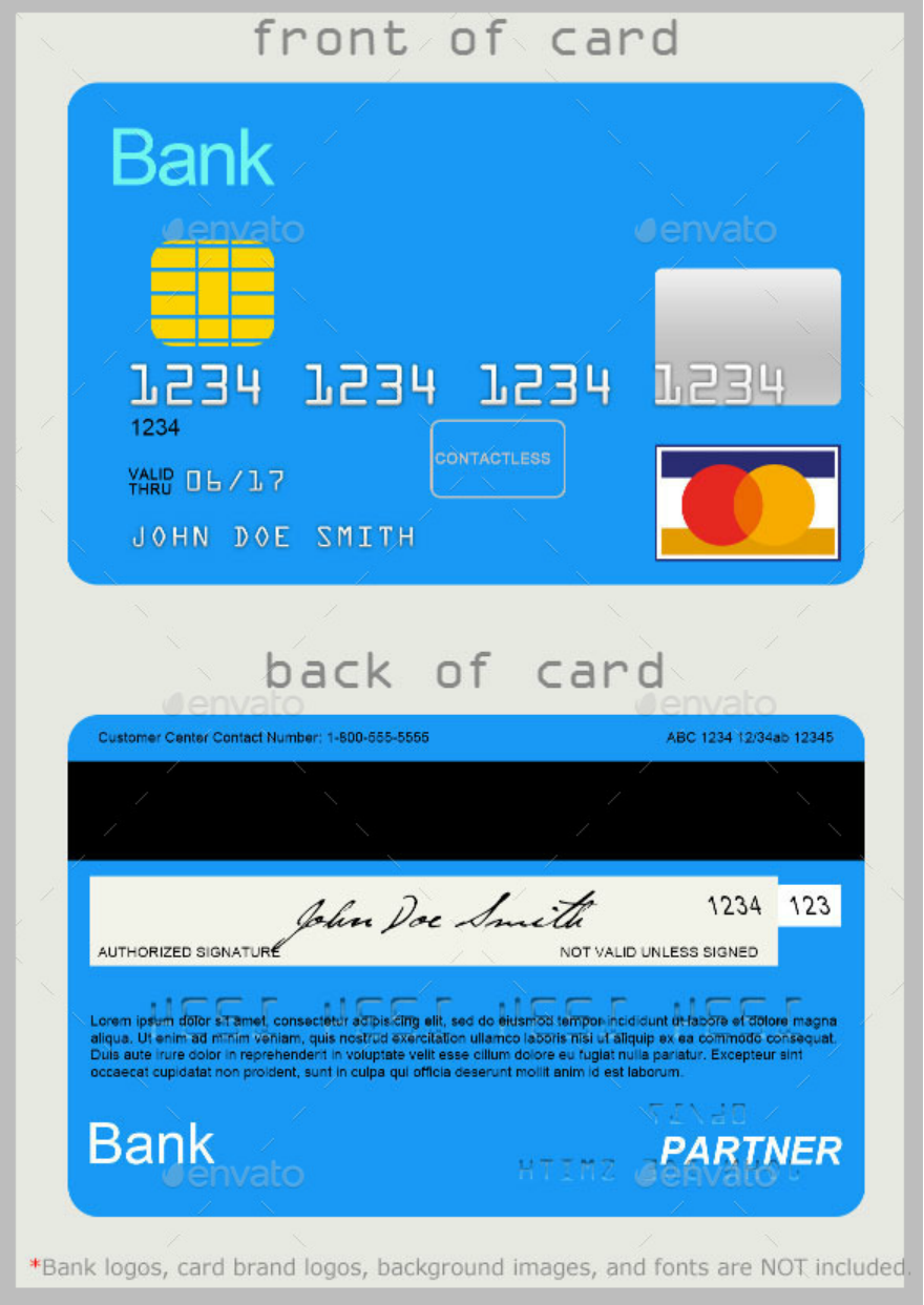 plain credit card design template