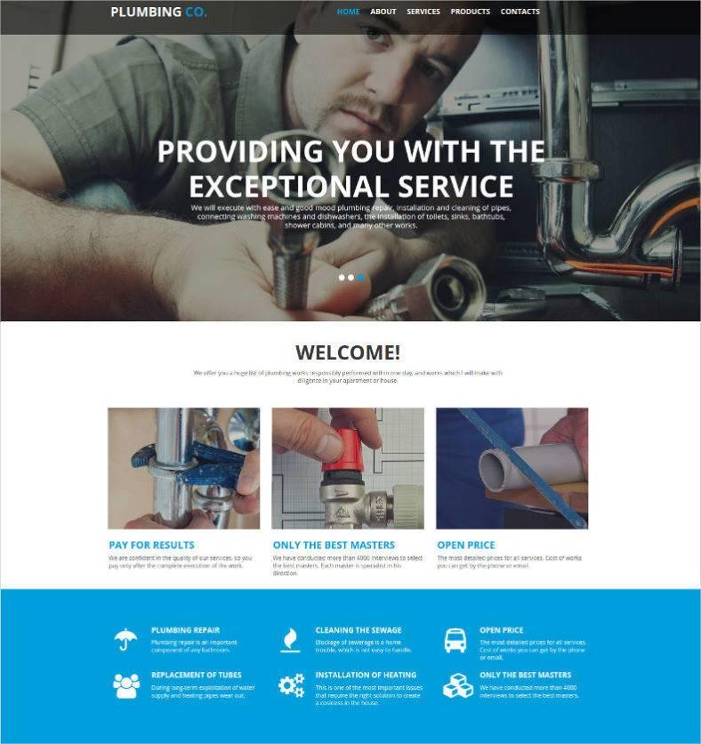 plumbing services website design 788x836