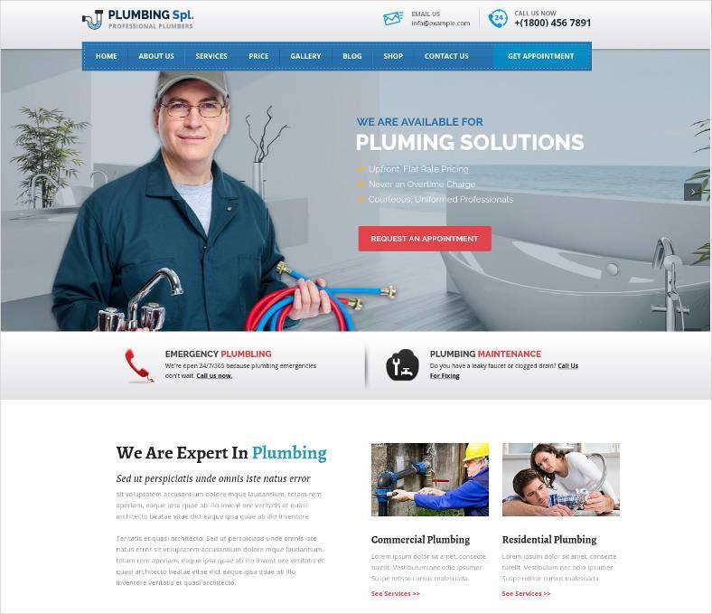 plumbing spl plumber wordpress theme 788x679