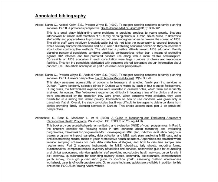 Printable Free MLA Annotated Bibliography Template
