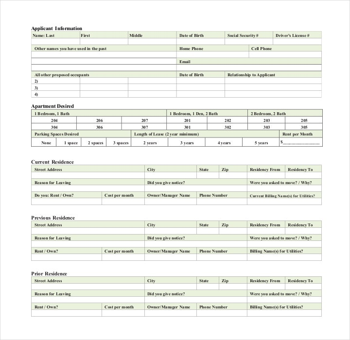 Printable Residential Lease Application Form
