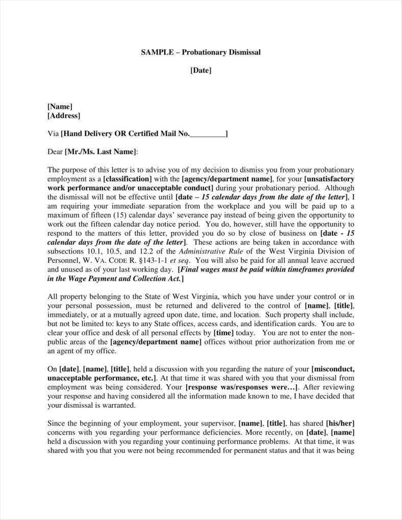 9 company termination letters free samples examples for Employment probation letter template
