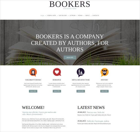 publishing company author website theme