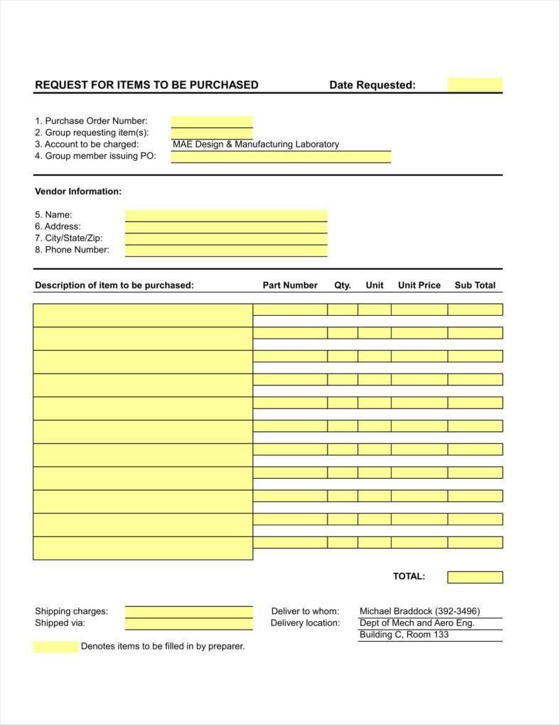 Sample Order Form Template Excel