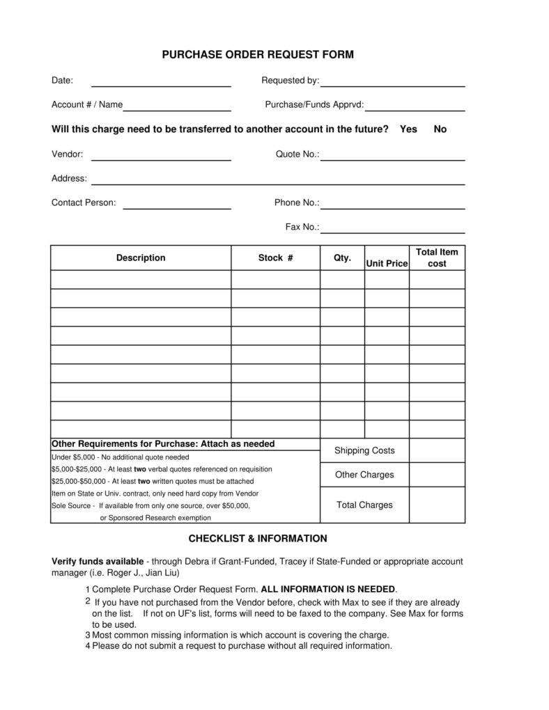 Blank Fundraiser Purchase Order Form