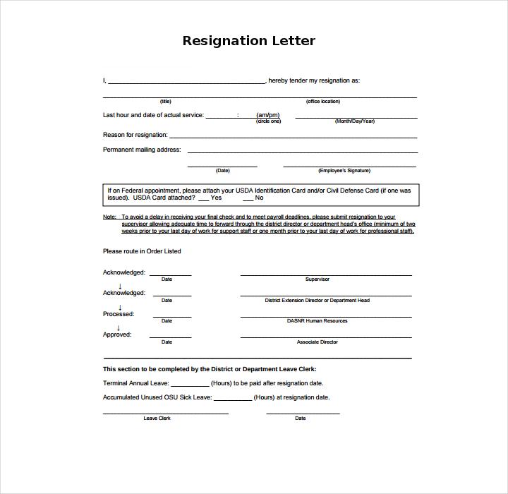 Resignation Letter in PDF