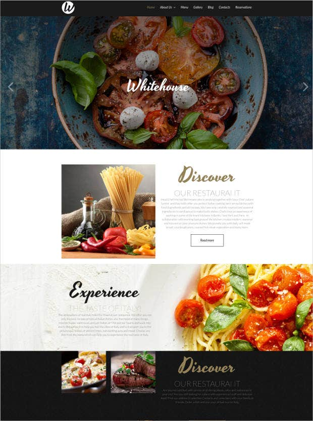 responsive restaurant website template