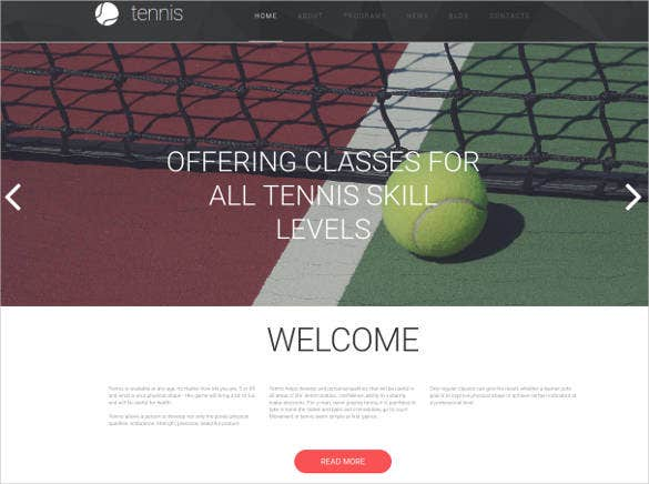 responsive website design for tennis club