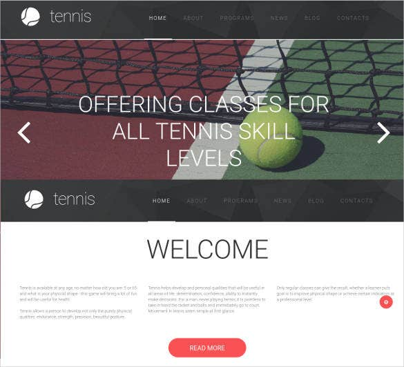 responsive website design for tennis club1