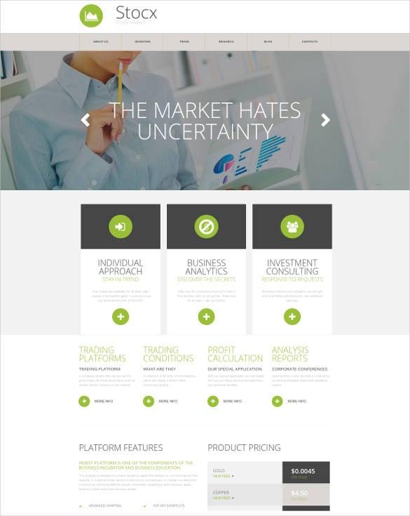 responsive website for stock marketing