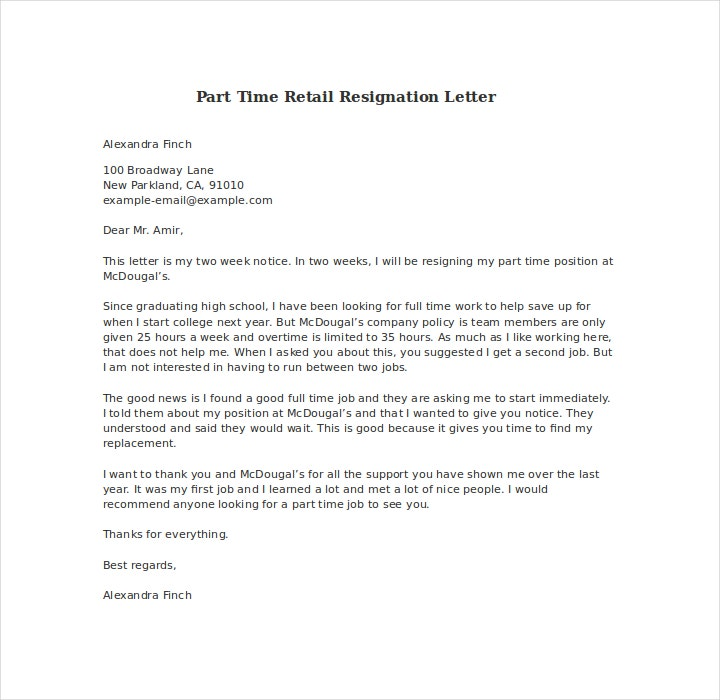 19 resign letter format templates free pdf doc format download retail resign letter spiritdancerdesigns Images
