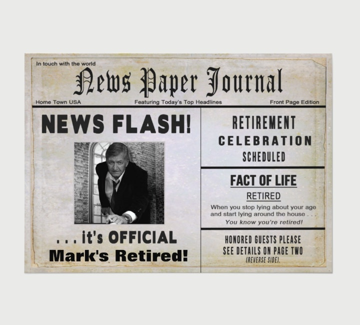 Retirement News Flash Invitation