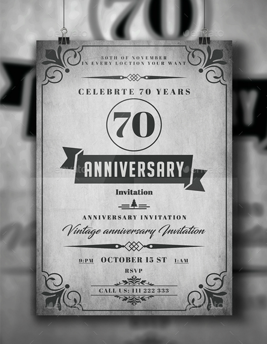 rustic anniversary invitation card