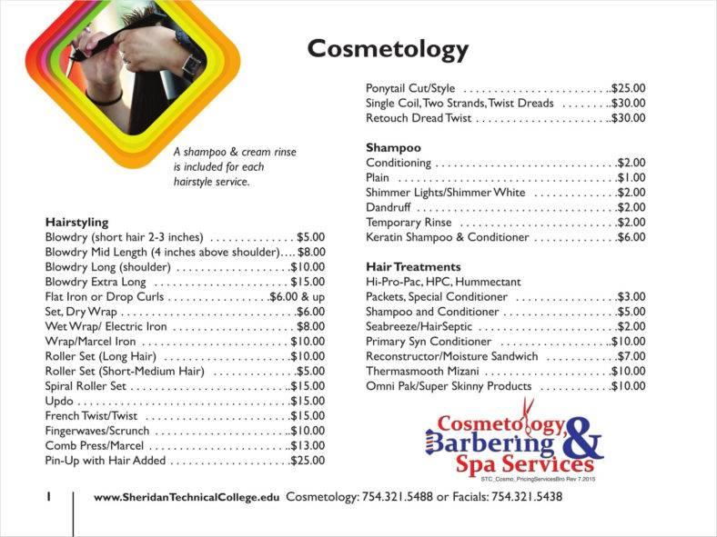 free salon price list template