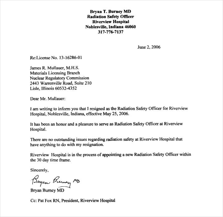 Safety Officer Resign Letter PDF