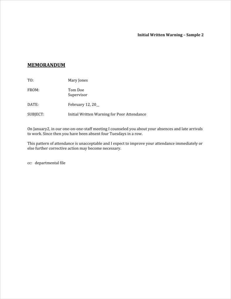 absence warning letter template example
