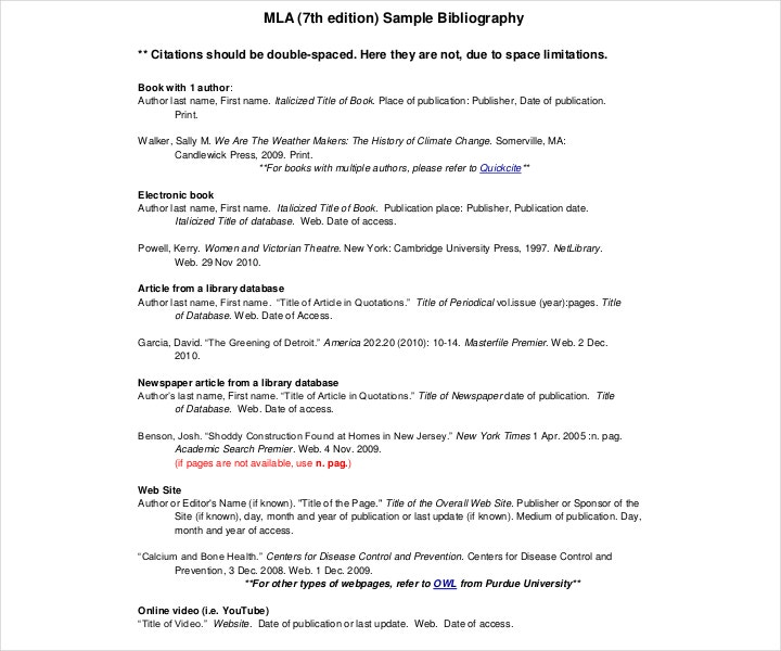 sample mla bibliography 7th edition
