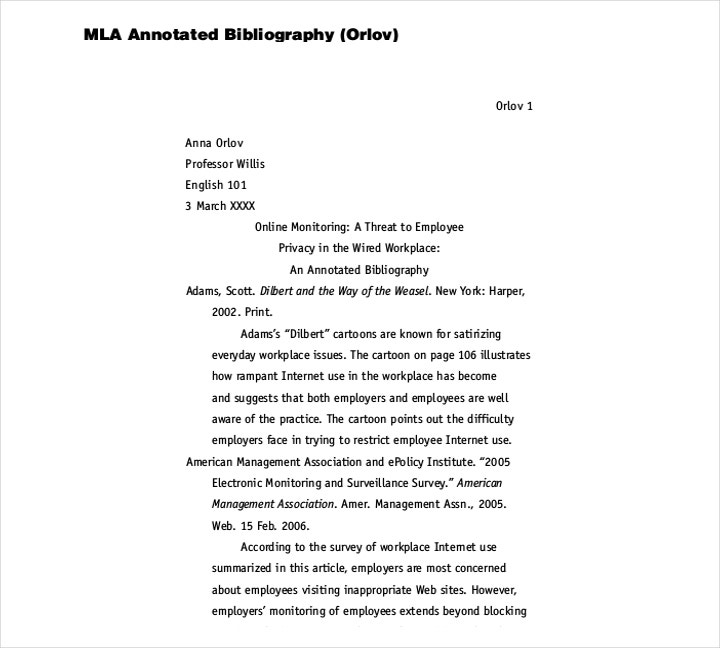 sample mla style annotated bibliography template free