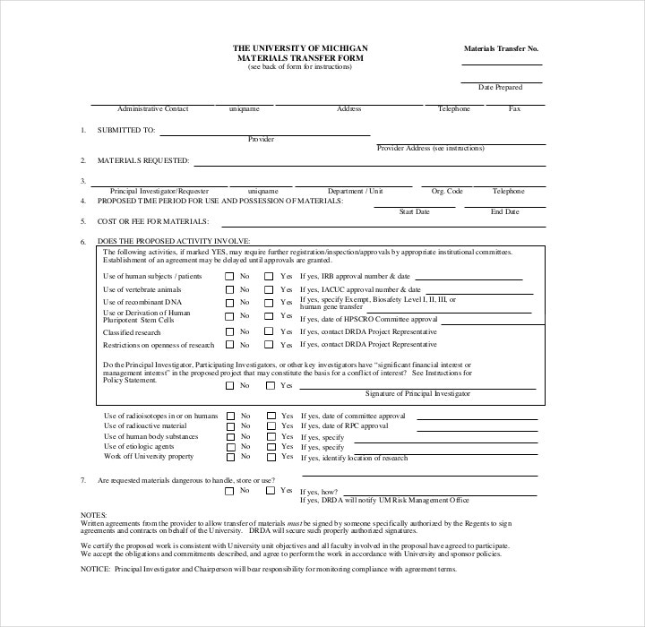 Sample Material Transfer Order Form