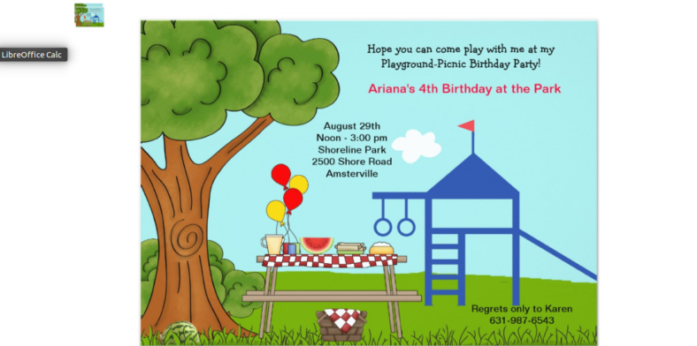 playground party picnic invitation