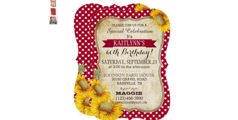sunflower picnic cloth invitation