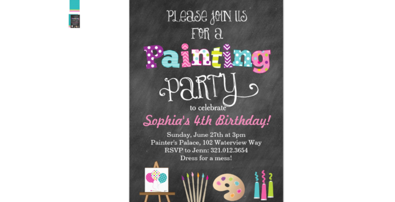 Painting Party Chalkboard Invitation
