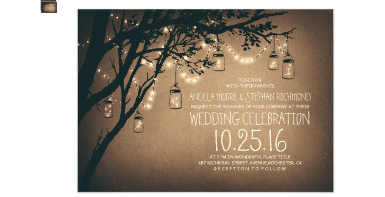 Mason Jar & Lights Rustic Wedding Invitation