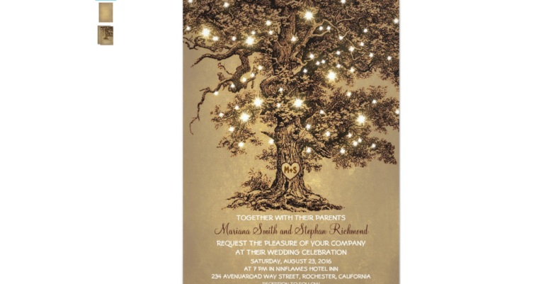 Rustic Wedding Tree Invitation