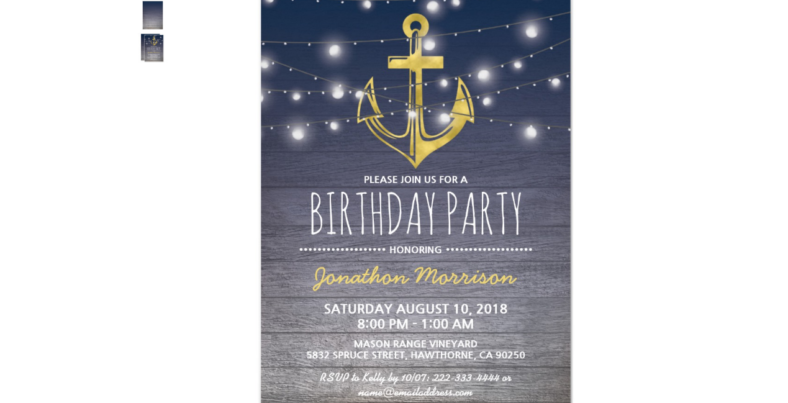Rustic Blue and Gold Birthday Invitation