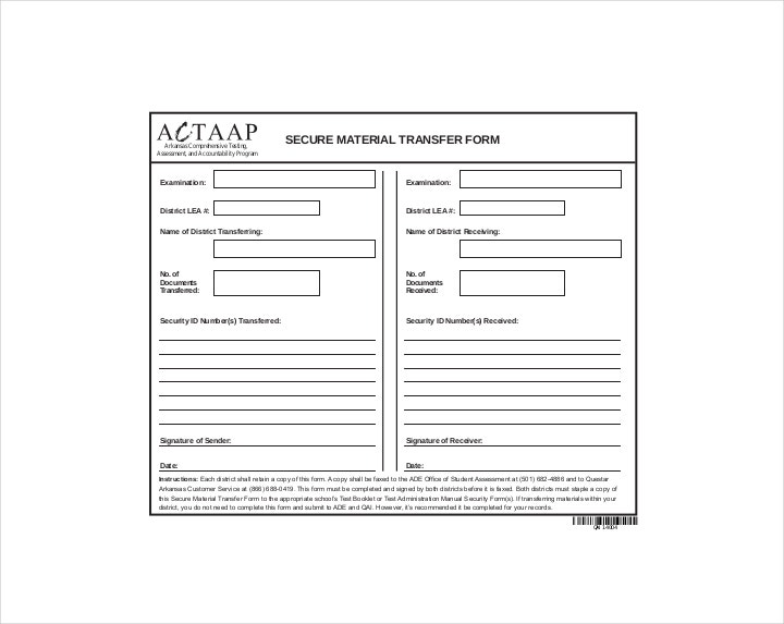 Secure Material Transfer Order Form