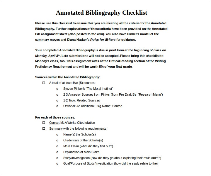simple annotated bibliography checklist