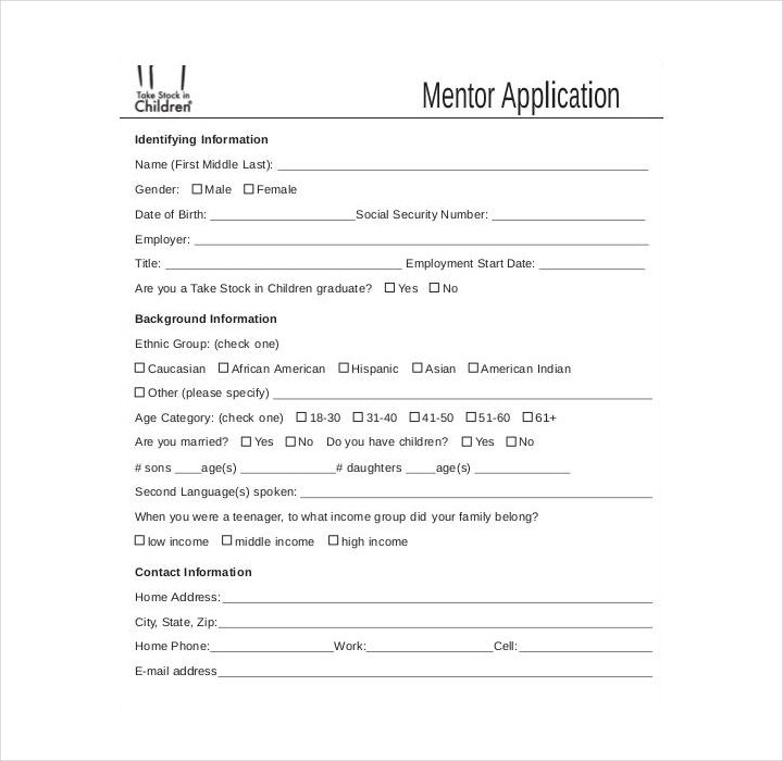 simple mentor application form