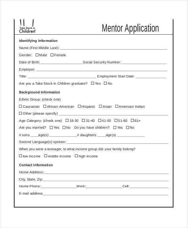 10+ Mentor Application Form | Free & Premium Templates