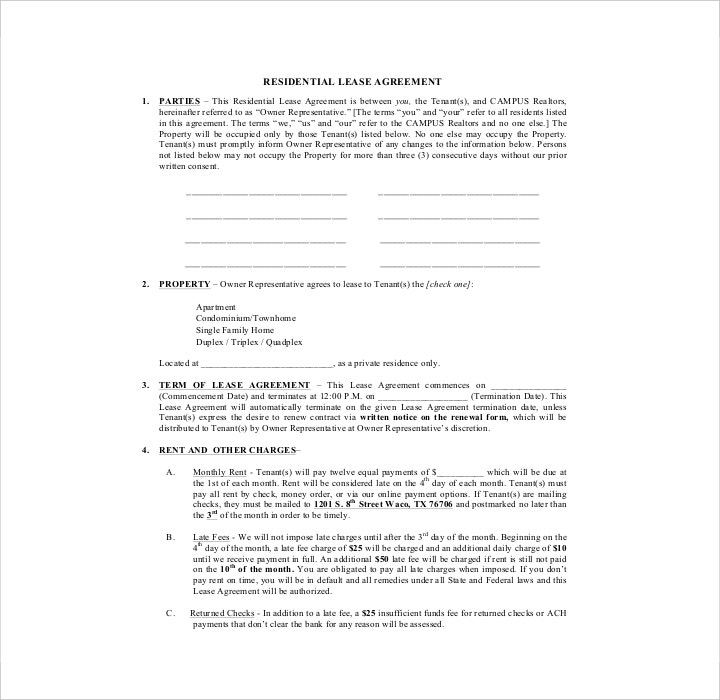 Simple Residential Lease Application