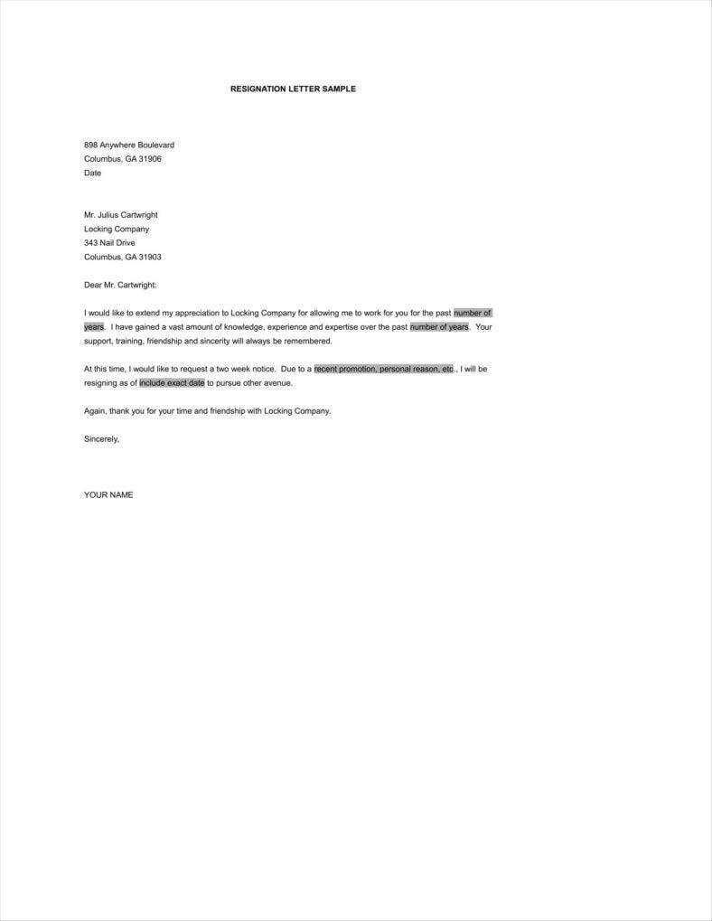 Simple Resign Letter Templates  Free Word Pdf Excel Format