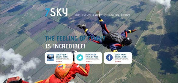 skydiving website template