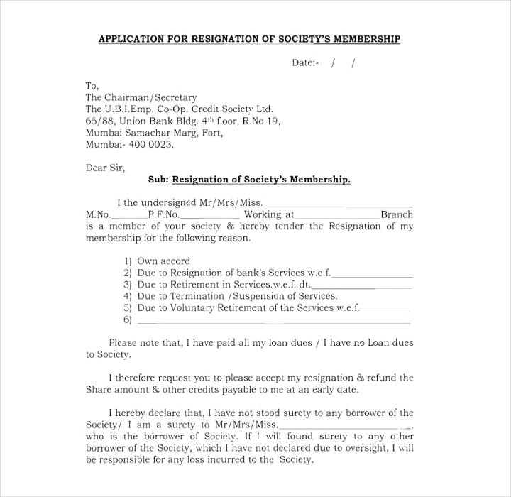 Society Membership Termination Letter