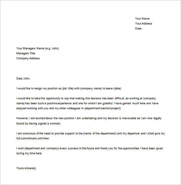 Professional Letter Of Resignation Sample Free from images.template.net