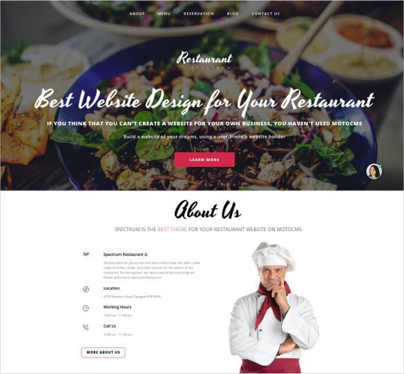 spectrum website design for restaurant