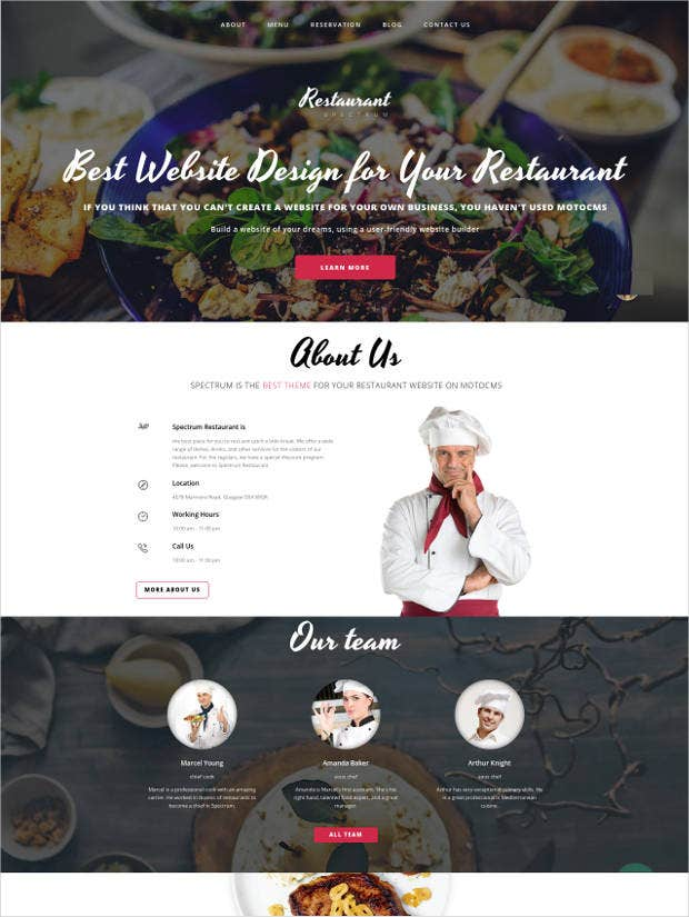 spectrum website design for restaurants