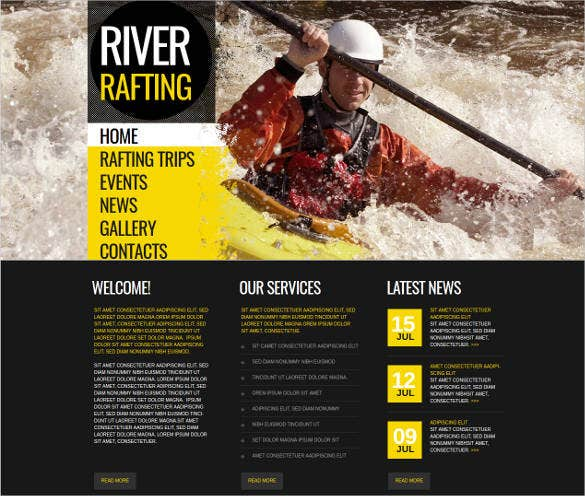 sport website template for river rafting